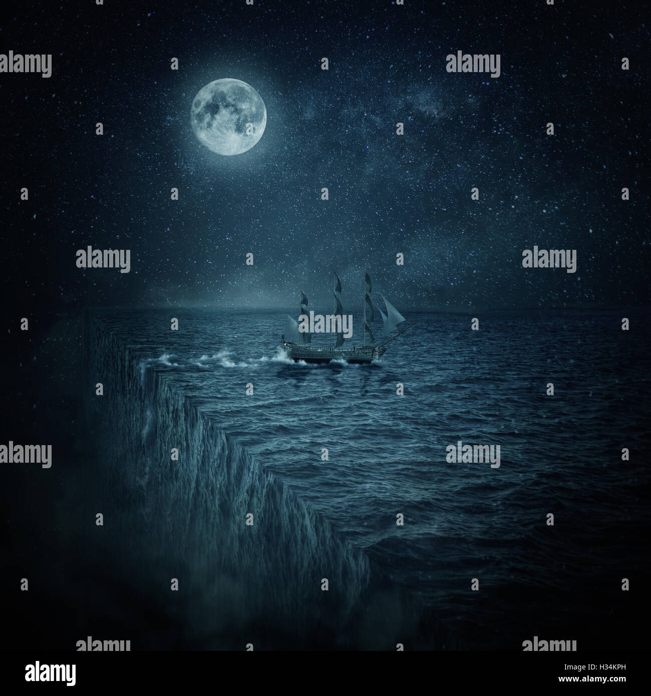 Vintage, old ship sailing lost in the ocean at night. Adventure and journey concept. Parallel universe, multiverse - Stock Image