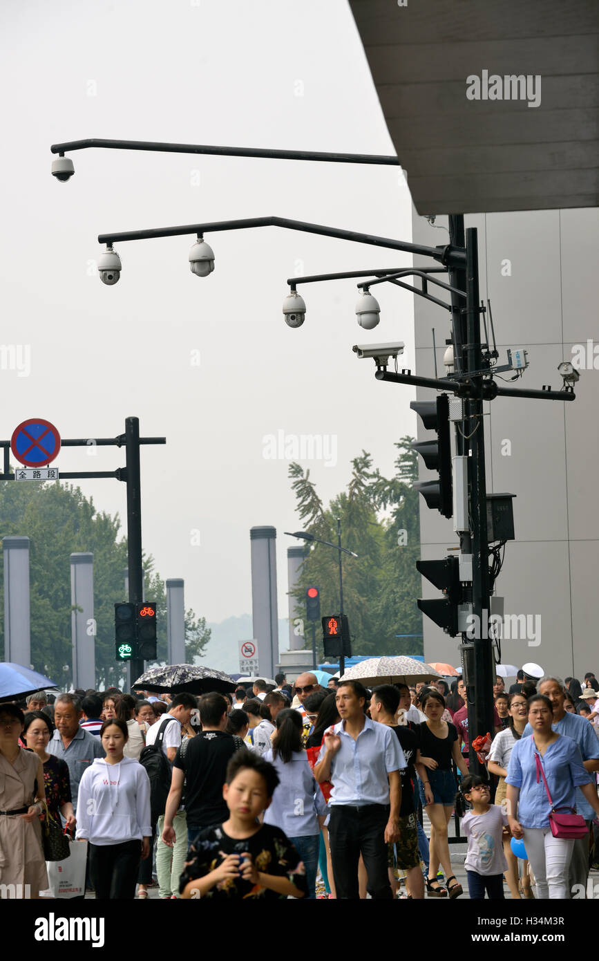 CCTV surveillance cameras of HIKVISION are seen in Hangzhou, Zhejiang province, China. - Stock Image