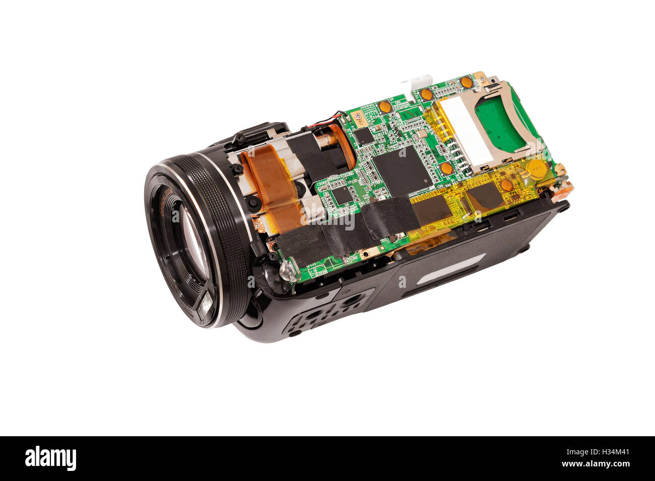 Disassembled compact camcorder. Close-up. Isolated on white background. - Stock Image