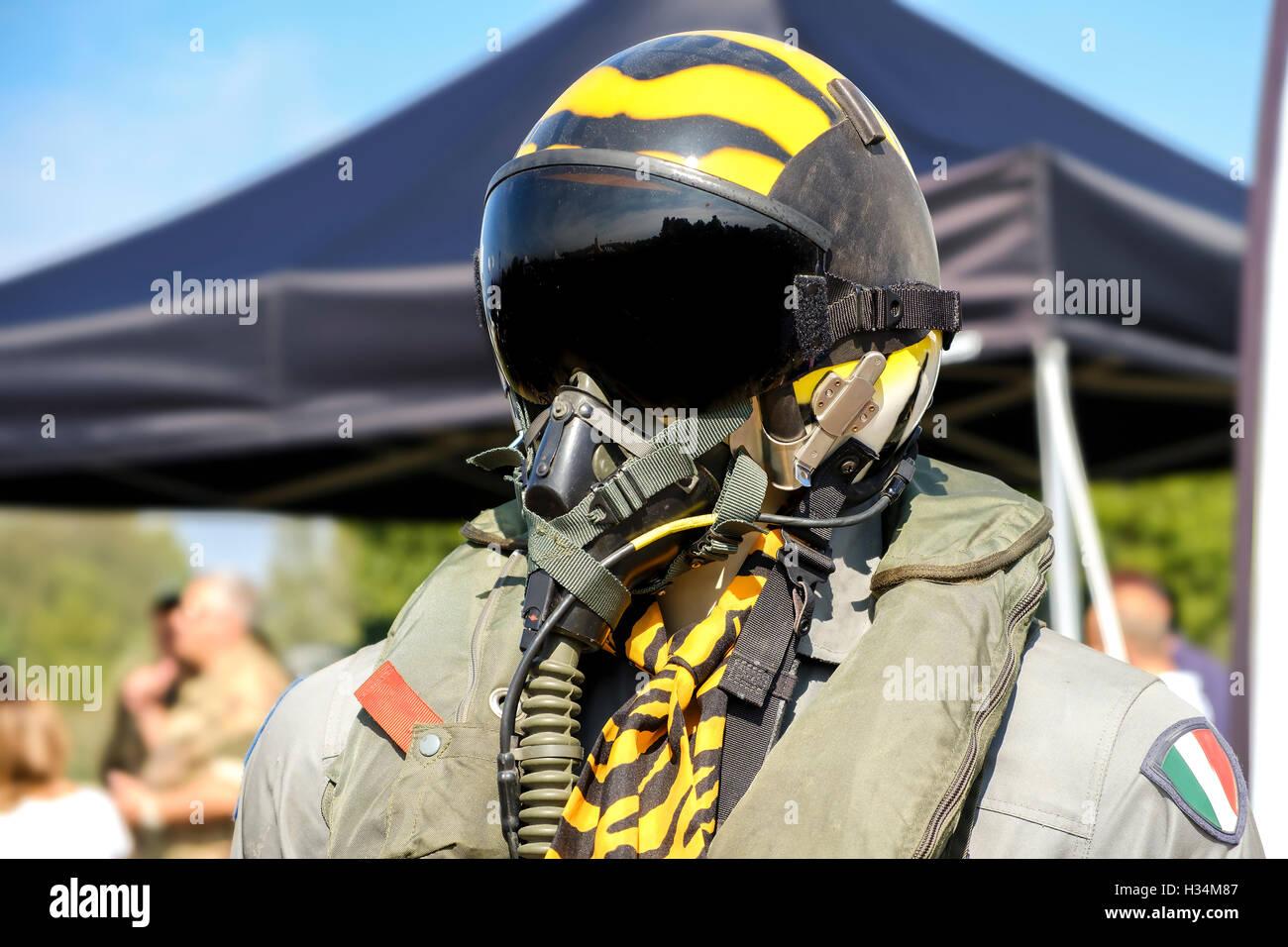 aviation military pilot helmet aeronautics - Stock Image