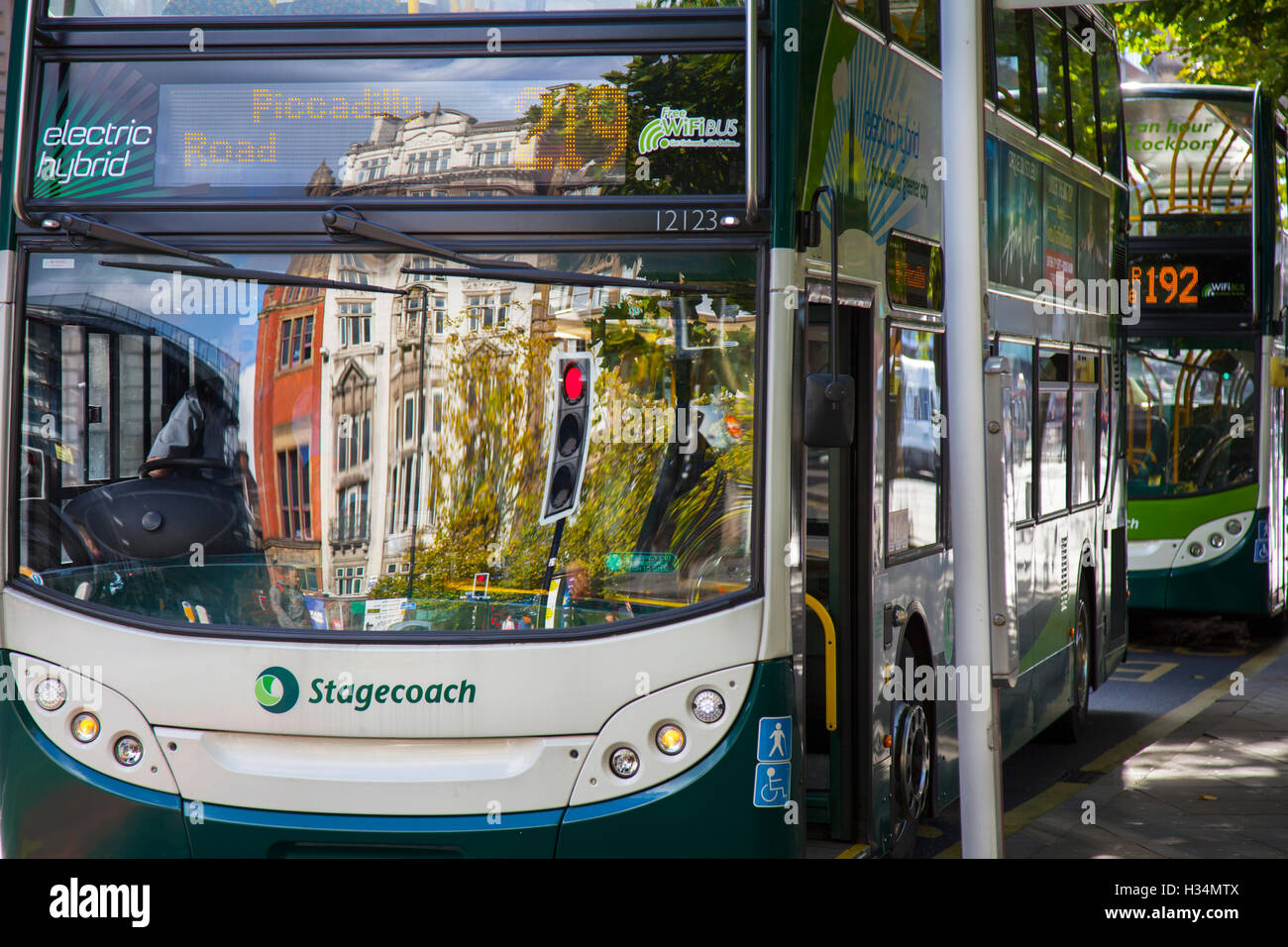 Electric Hybrid Stagecoach bus in Piccadilly, Manchester, UK Stock Photo