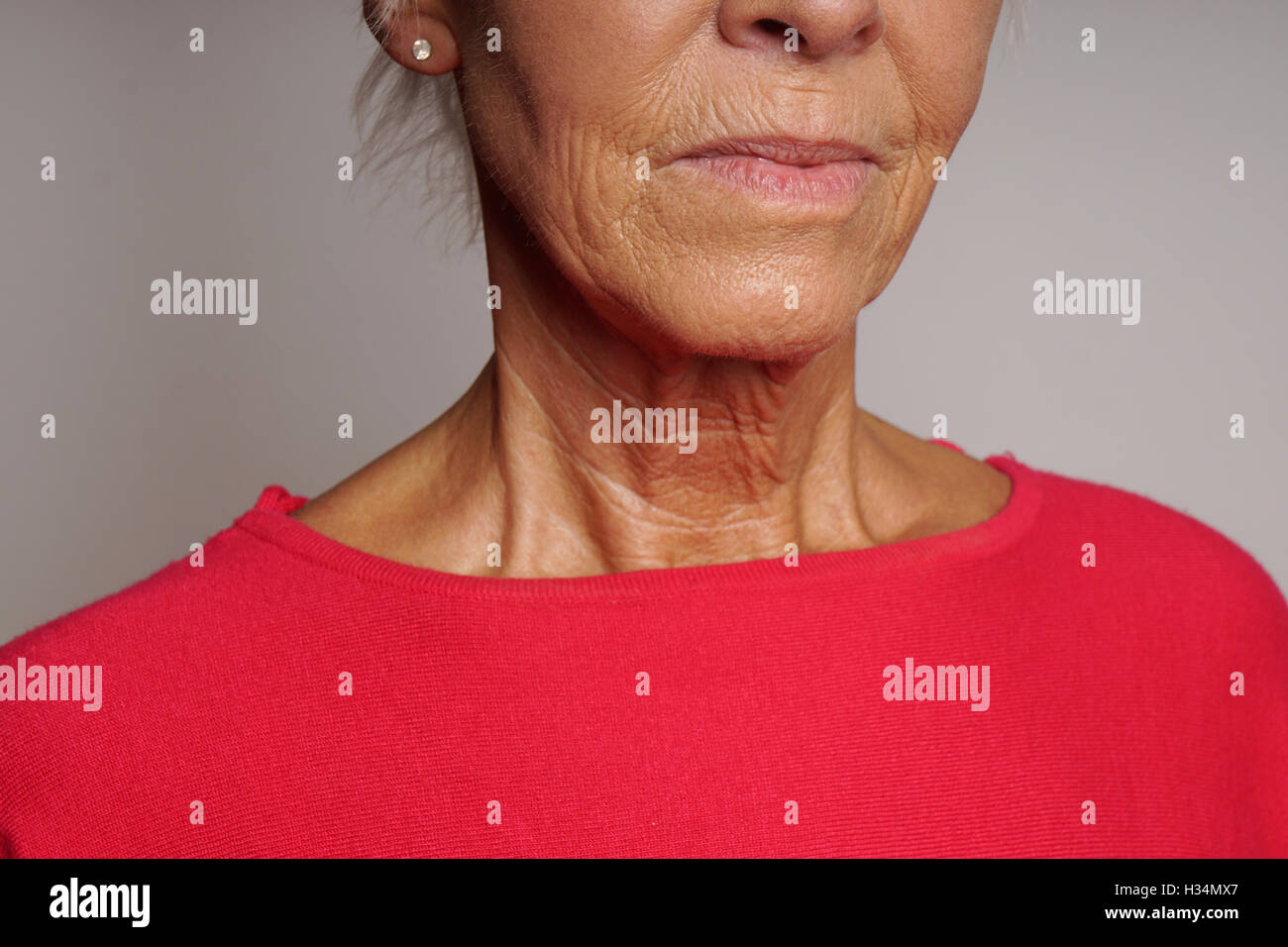 mature woman with wrinkles - Stock Image
