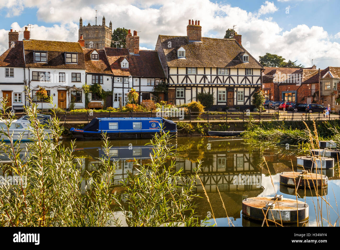 Timber framed houses next to the Mill Avon at Tewkesbury. Stock Photo