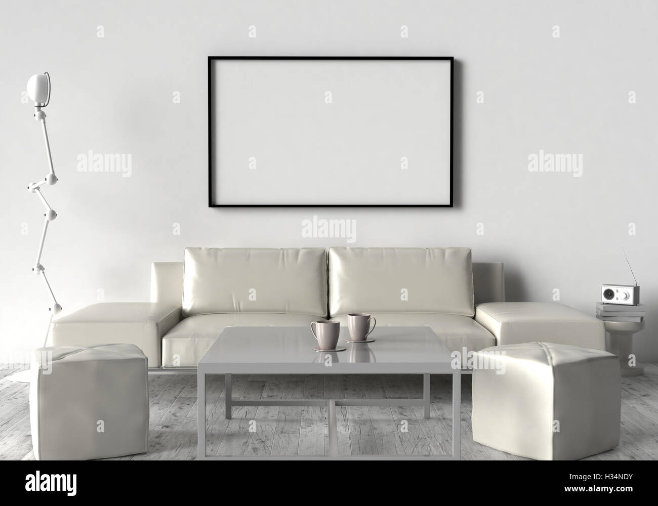 Living Room Sofa Two Stool And Table On The Wall Of An Empty Picture Frame 3D Illustration