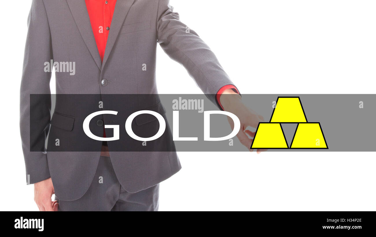Young businessman with gold sign isolated on white background - Stock Image