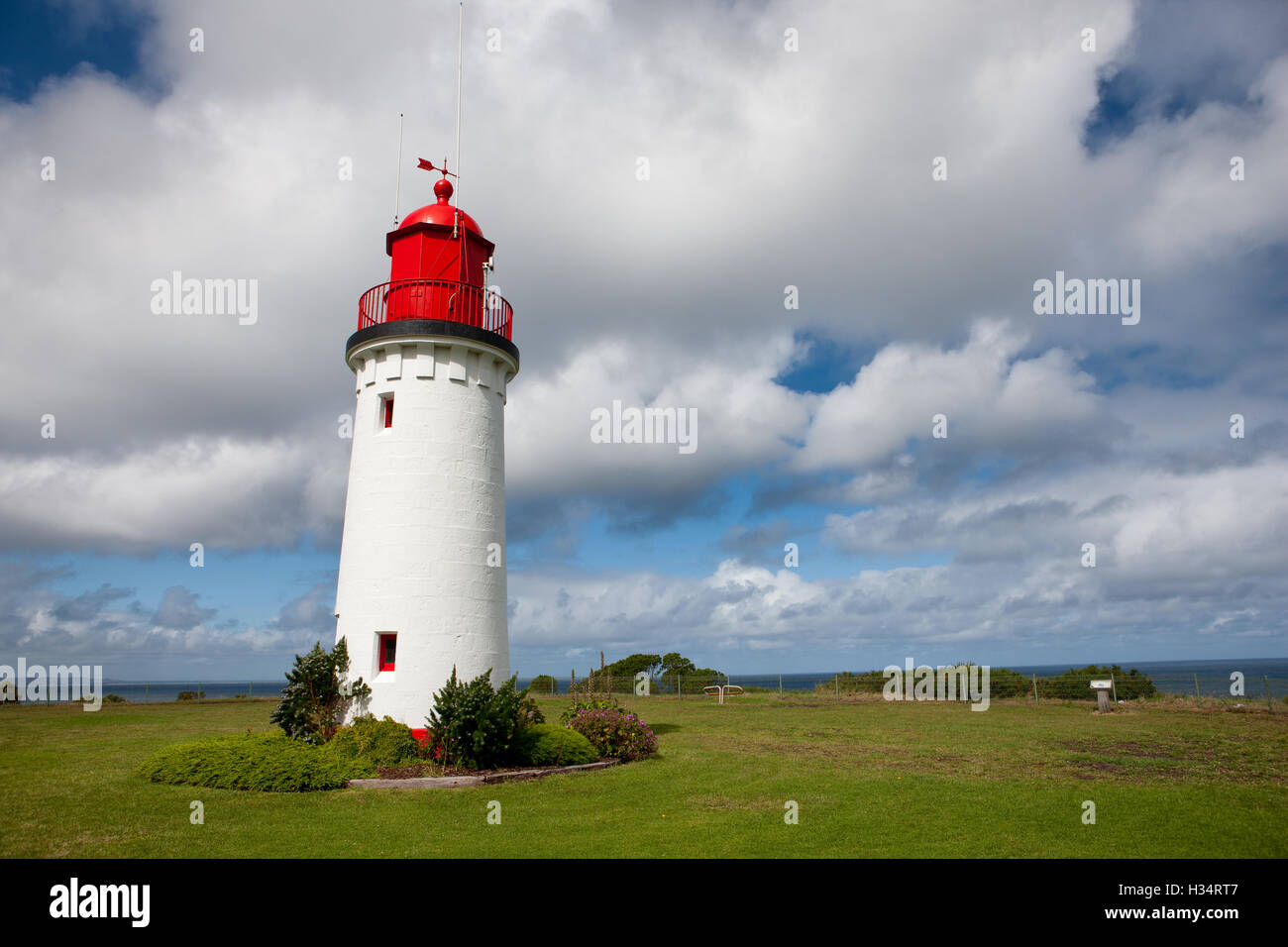 Whalers Bluff Lighthouse, at the port of Portland, Victoria, Australia. - Stock Image