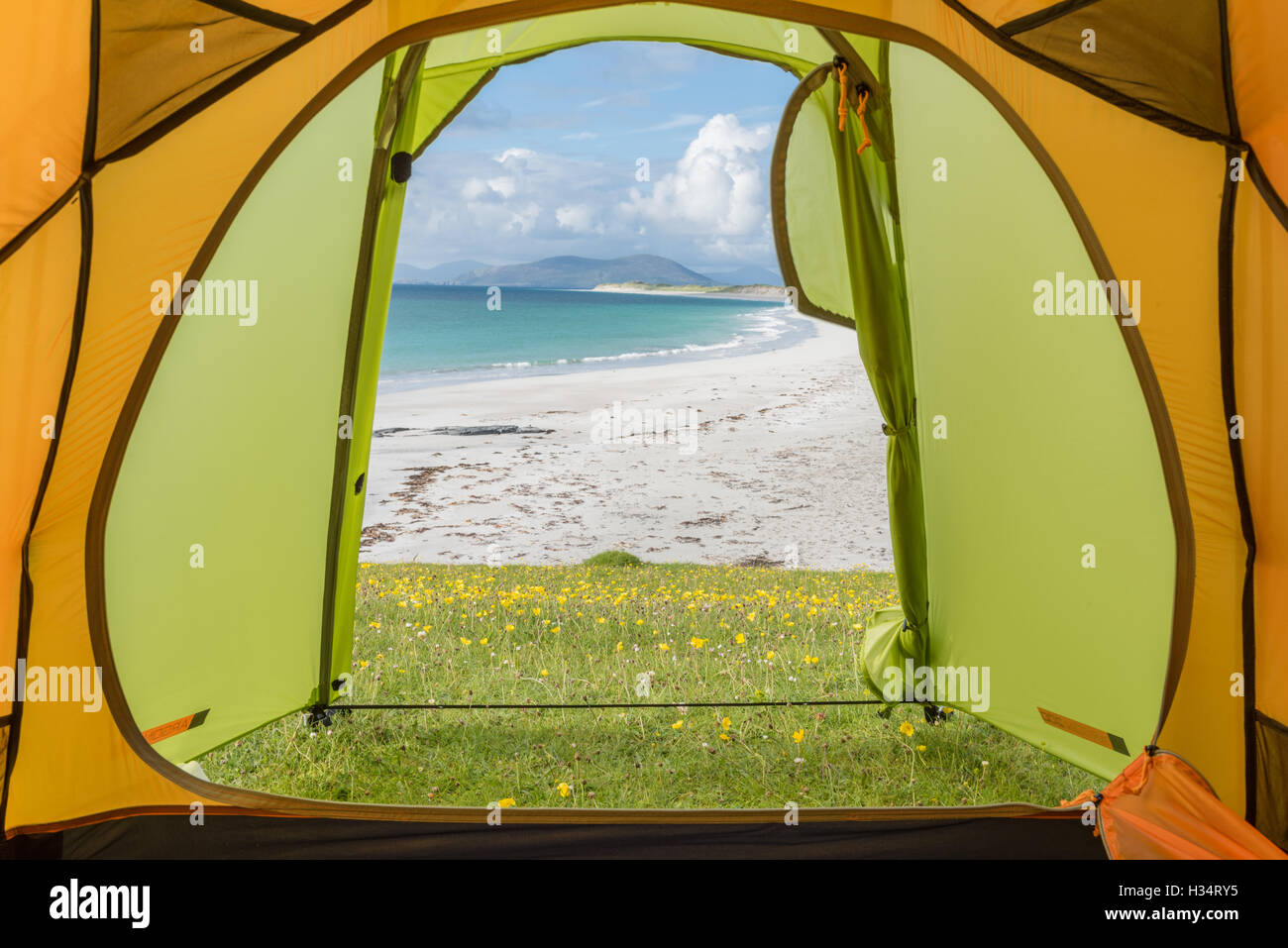 Wild camping tent view, West Beach Berneray, Outer Hebrides - Stock Image