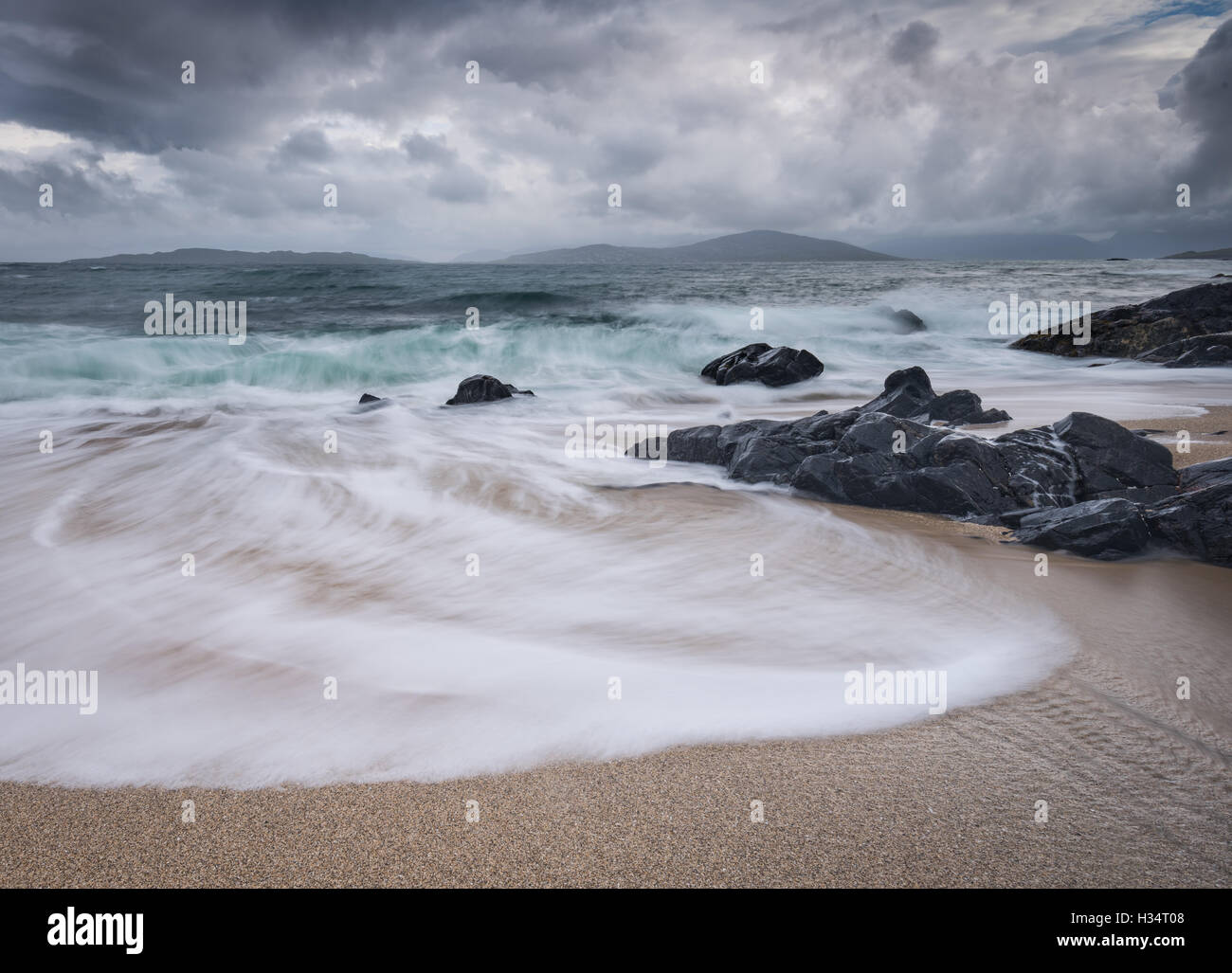 Stormy seas at Bagh Steinigidh, Isle of Harris, Outer Hebrides, Western Isles, Scotland - Stock Image