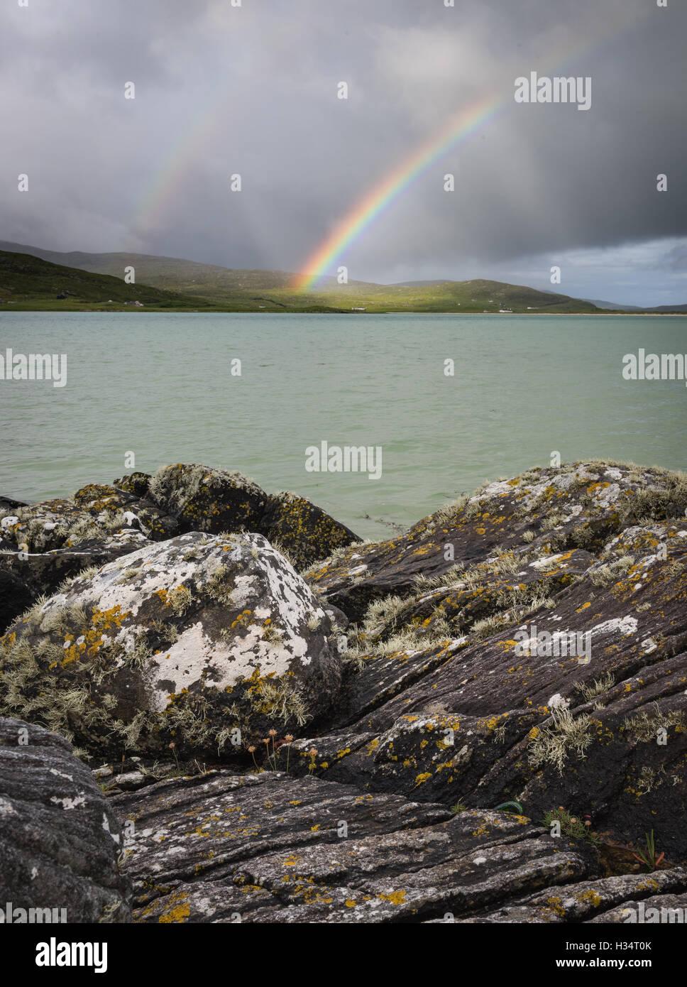 Rainbow over Luskentyre, Isle of Harris, Outer Hebrides, Scotland - Stock Image