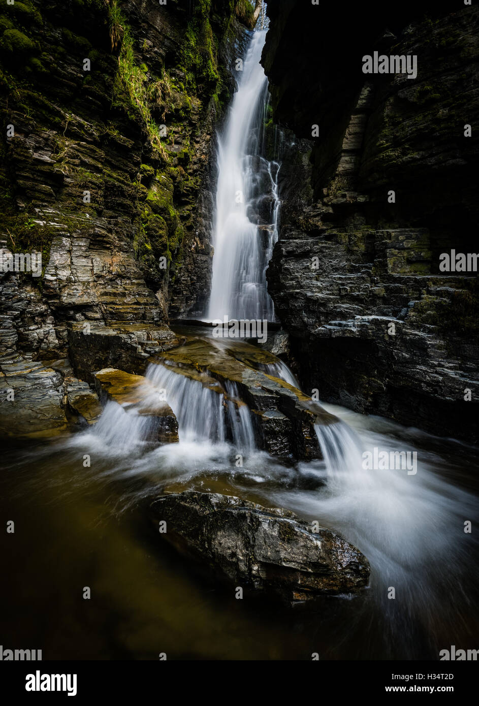 Spout Force waterfall, Whinlatter Pass, English Lake District national park, UK - Stock Image