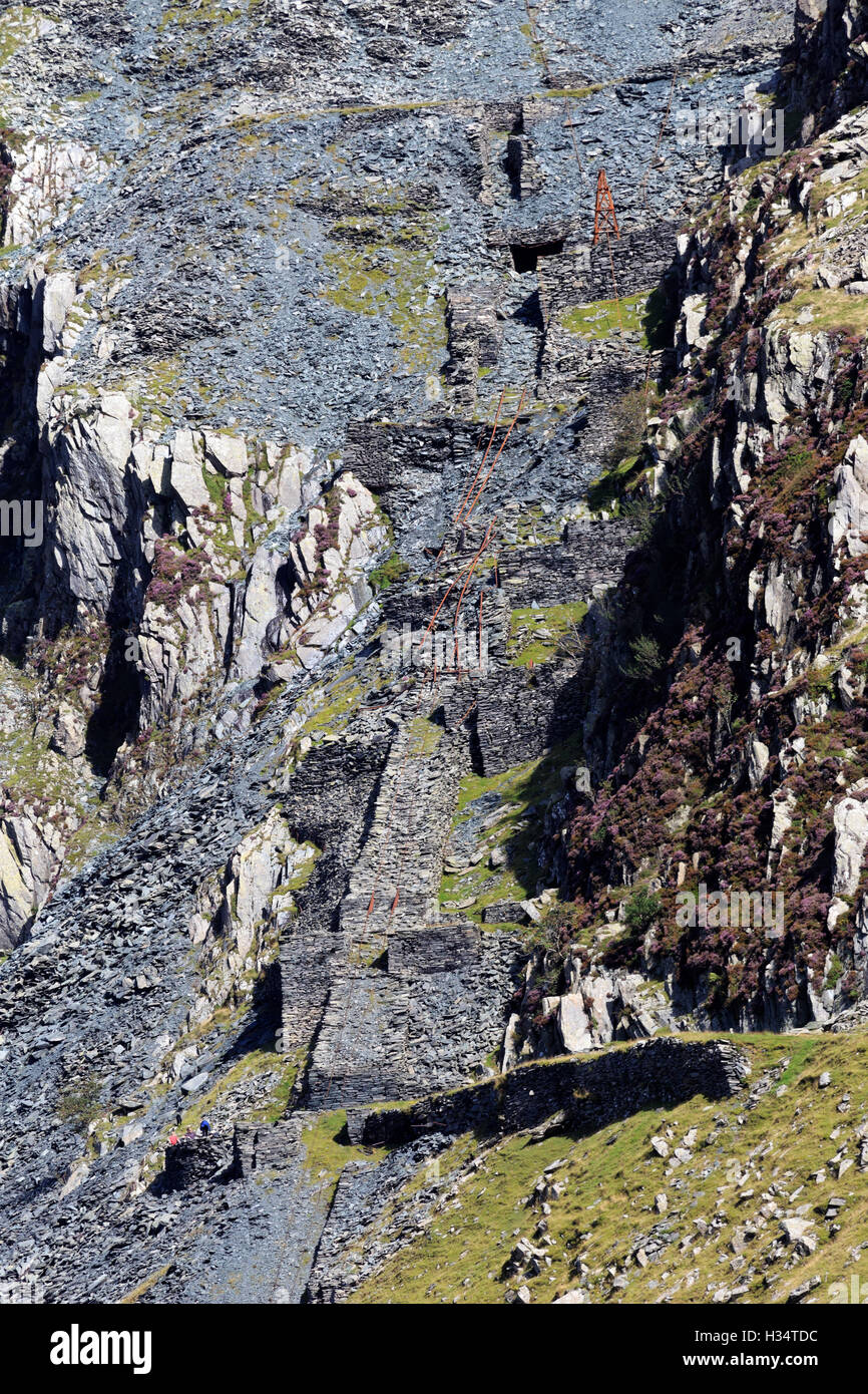 Yew Crag, former slate mine workings, Honister Pass, Lake District, Cumbria - Stock Image