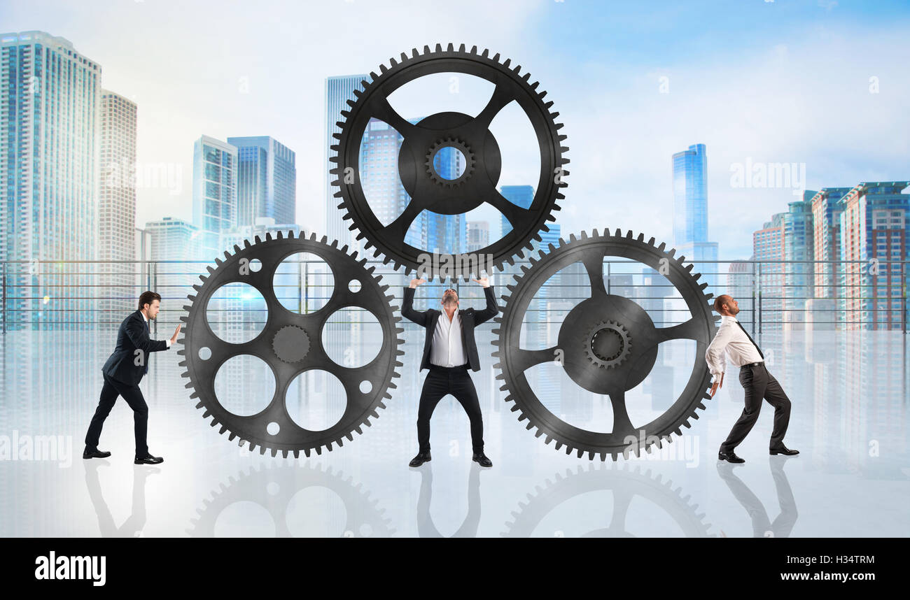 Teamwork work together - Stock Image