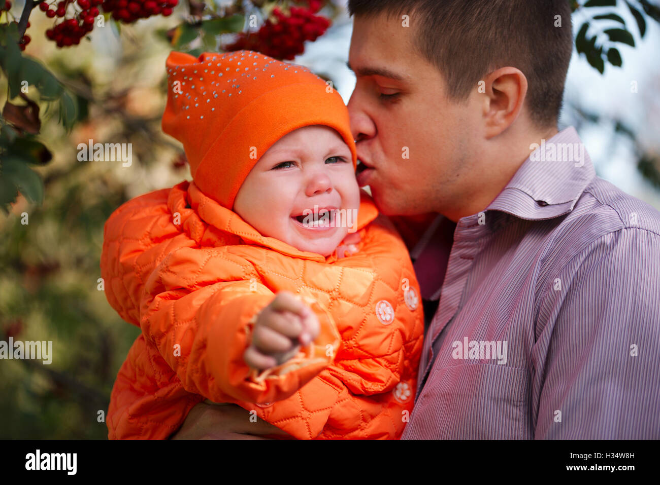 caring father with little daughter - Stock Image