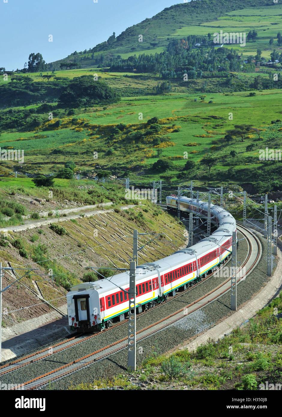 Addis Ababa, Ethiopia  3rd Oct, 2016  A train runs on the