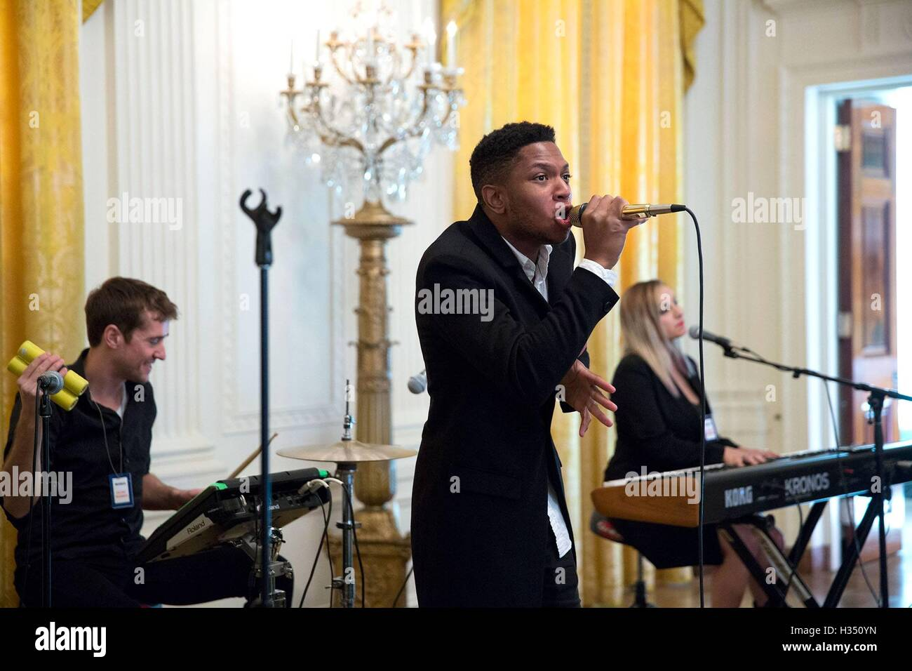 Washington DC, USA. 3rd October, 2016. Gallant performs during the South by South Lawn festival in the East Room - Stock Image