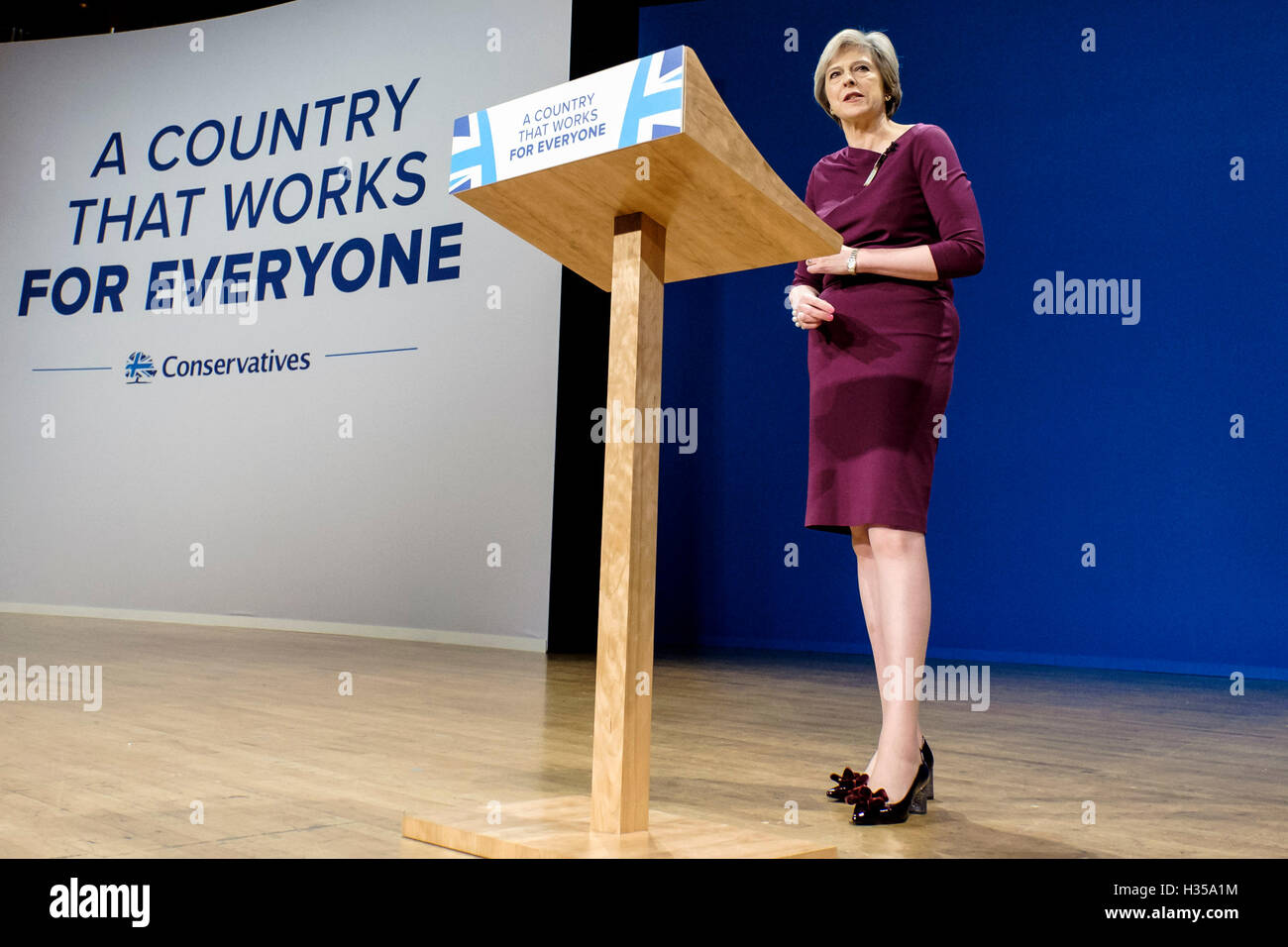 Conservative Party Conference day 4, final day on 05/10/2016 at Birmingham ICC, Birmingham. Persons pictured: Theresa - Stock Image