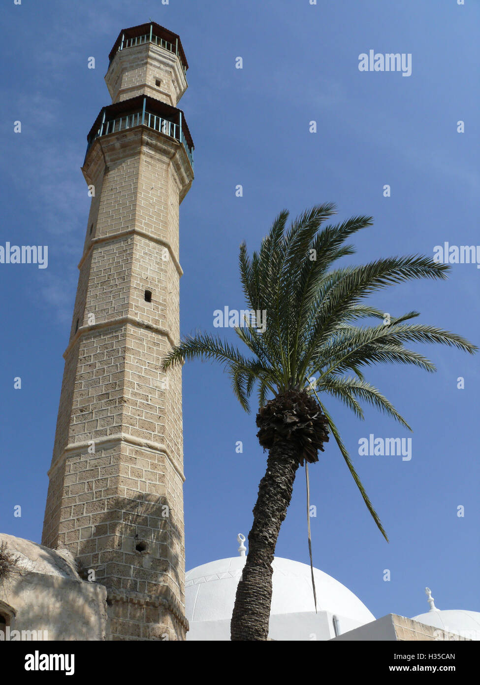 An upwards perspective view of a octagonal tower and a palm tree Stock Photo