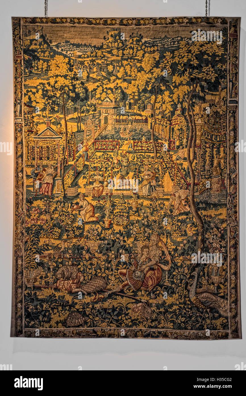 Italy Emilia Romagna Correggio Palazzo dei Principi -hall of tapestries Mullet And Procris, Ovid's Metamorphoses, - Stock Image