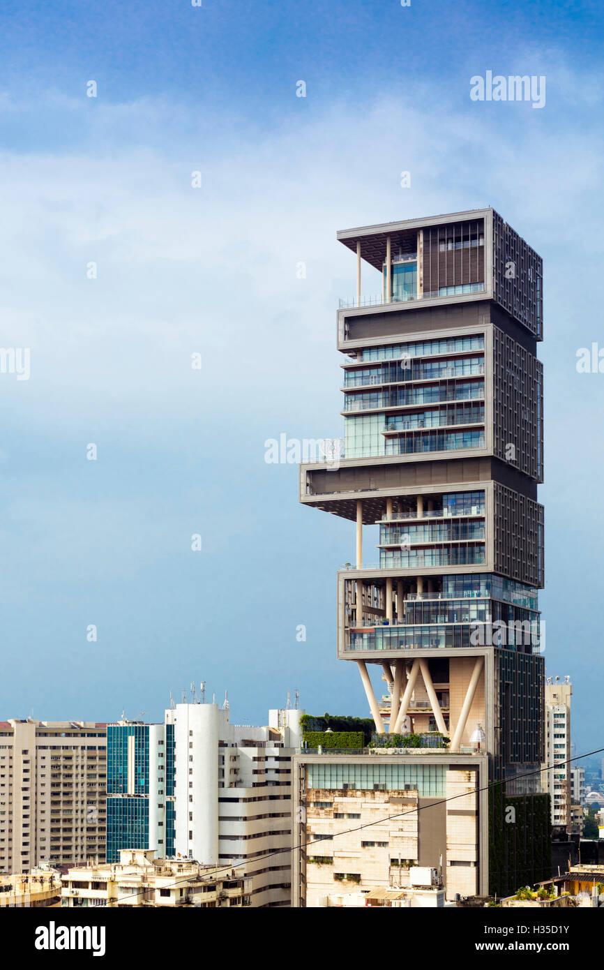 Antilia (Ambani building), the world's most expensive private home (to Mukesh Ambani) on Altamont Road, Mumbai - Stock Image