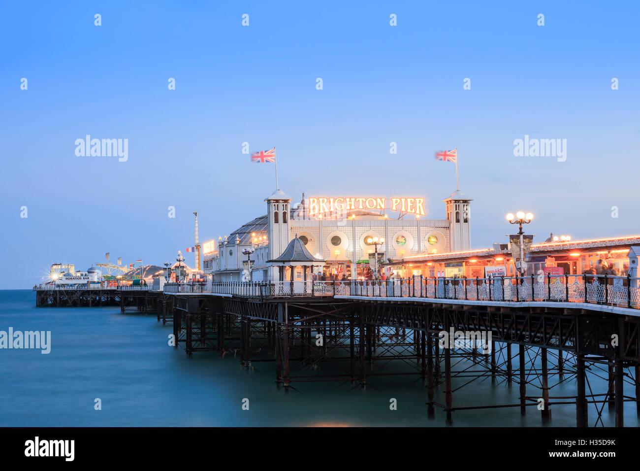Palace Pier, (Brighton Pier), Brighton, Sussex, England, UK - Stock Image