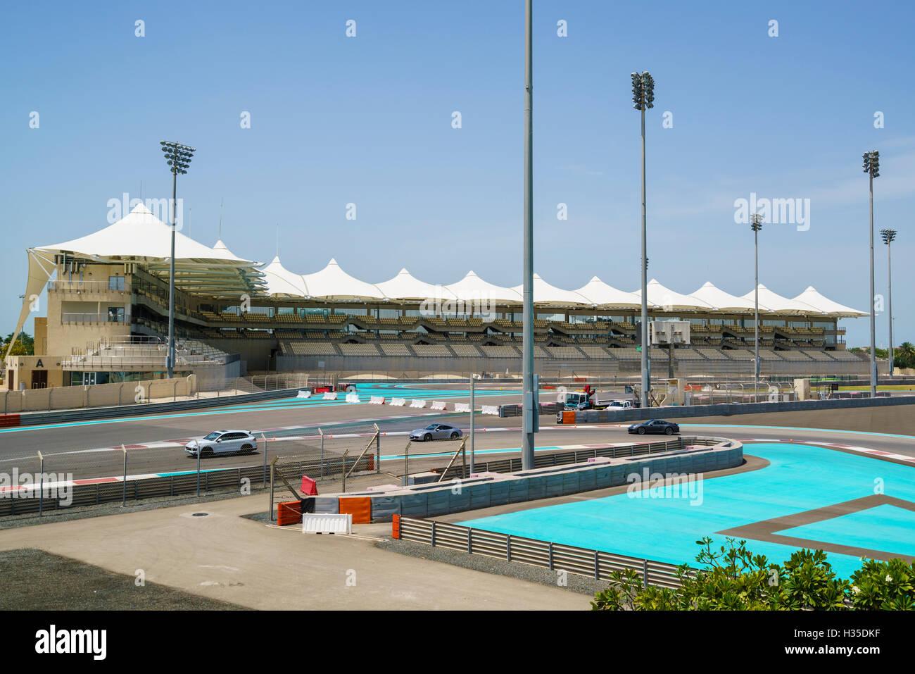 Yas Marina Formula One circuit, Yas Island, Abu Dhabi, United Arab Emirates, Middle East - Stock Image