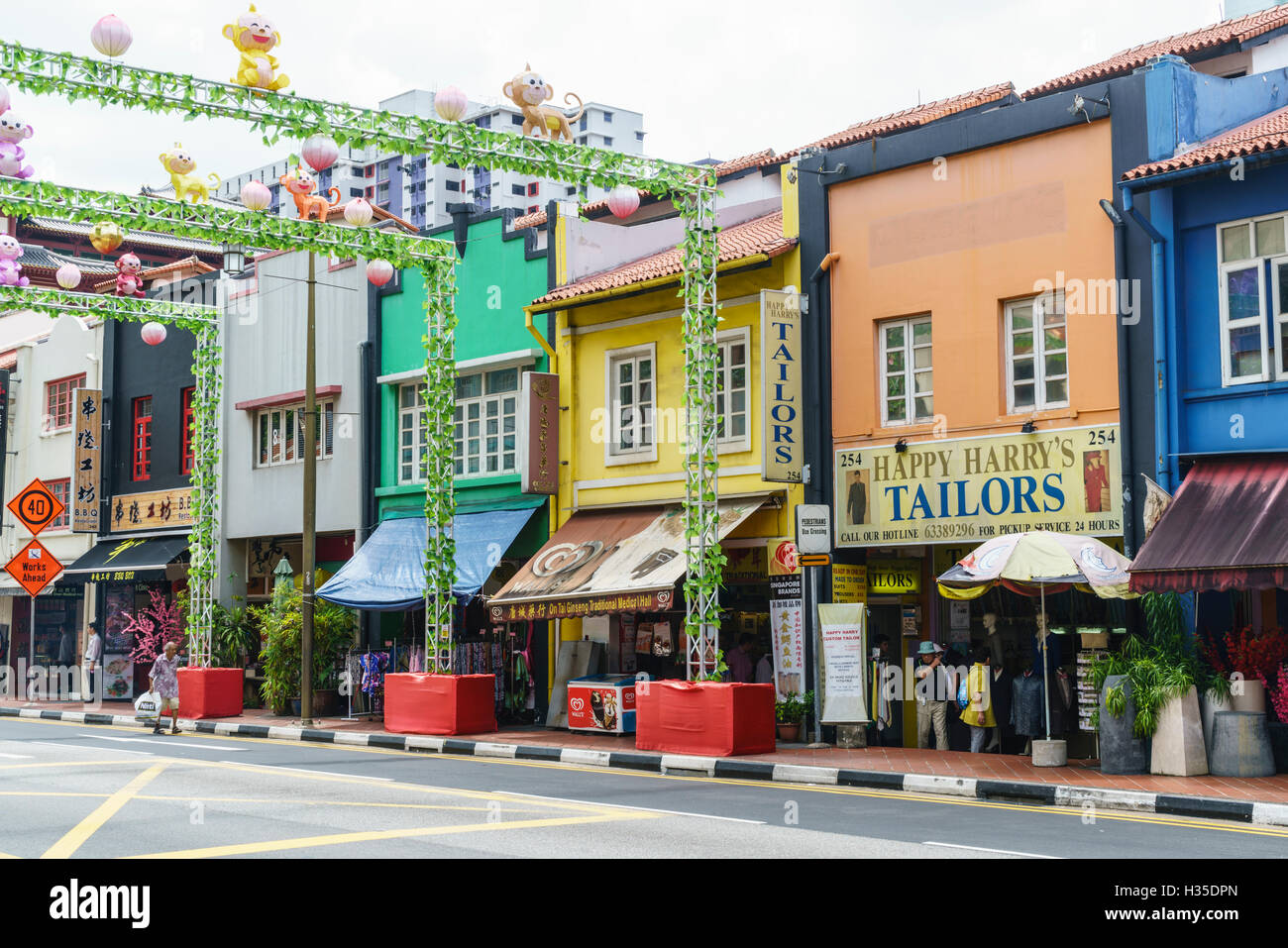 Colourful shophouses in South Bridge Road, Chinatown, Singapore - Stock Image