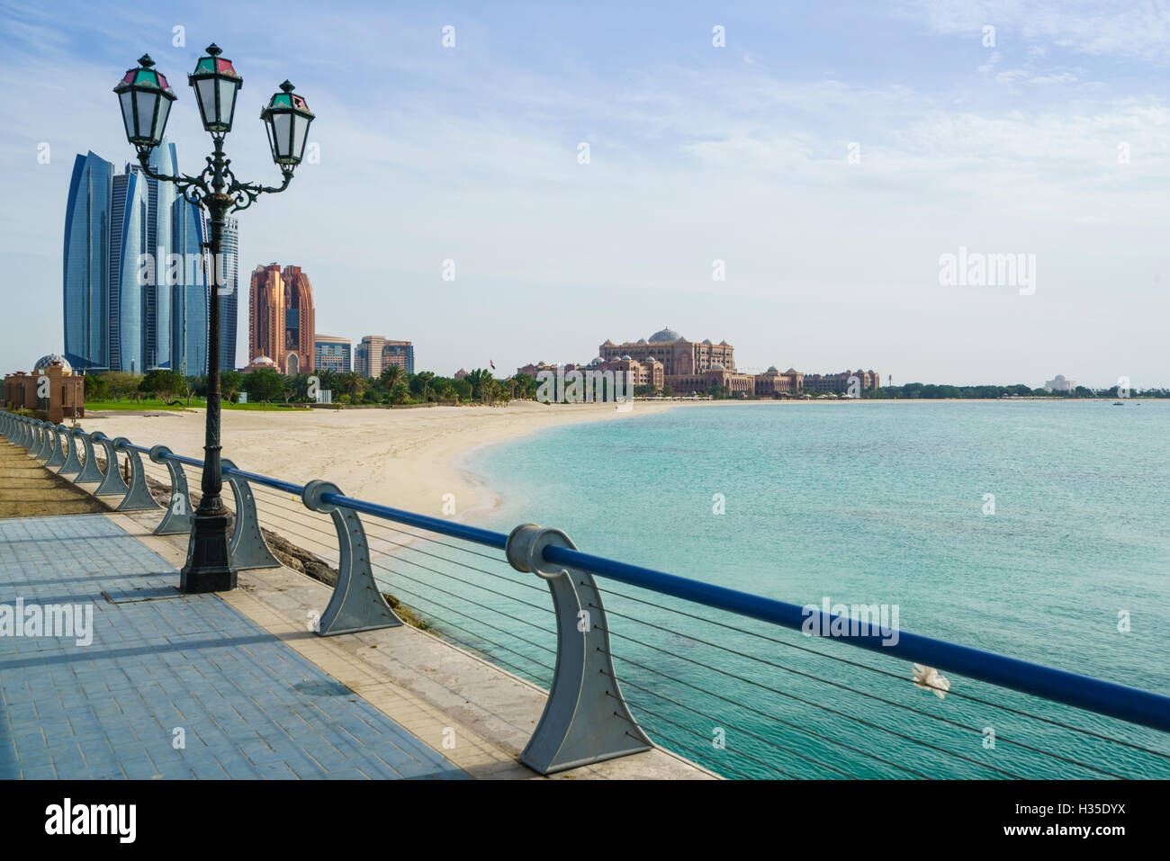 View from the Breakwater towards Etihad Towers and Emirates Palace Hotel and beach, Abu Dhabi, United Arab Emirates, - Stock Image