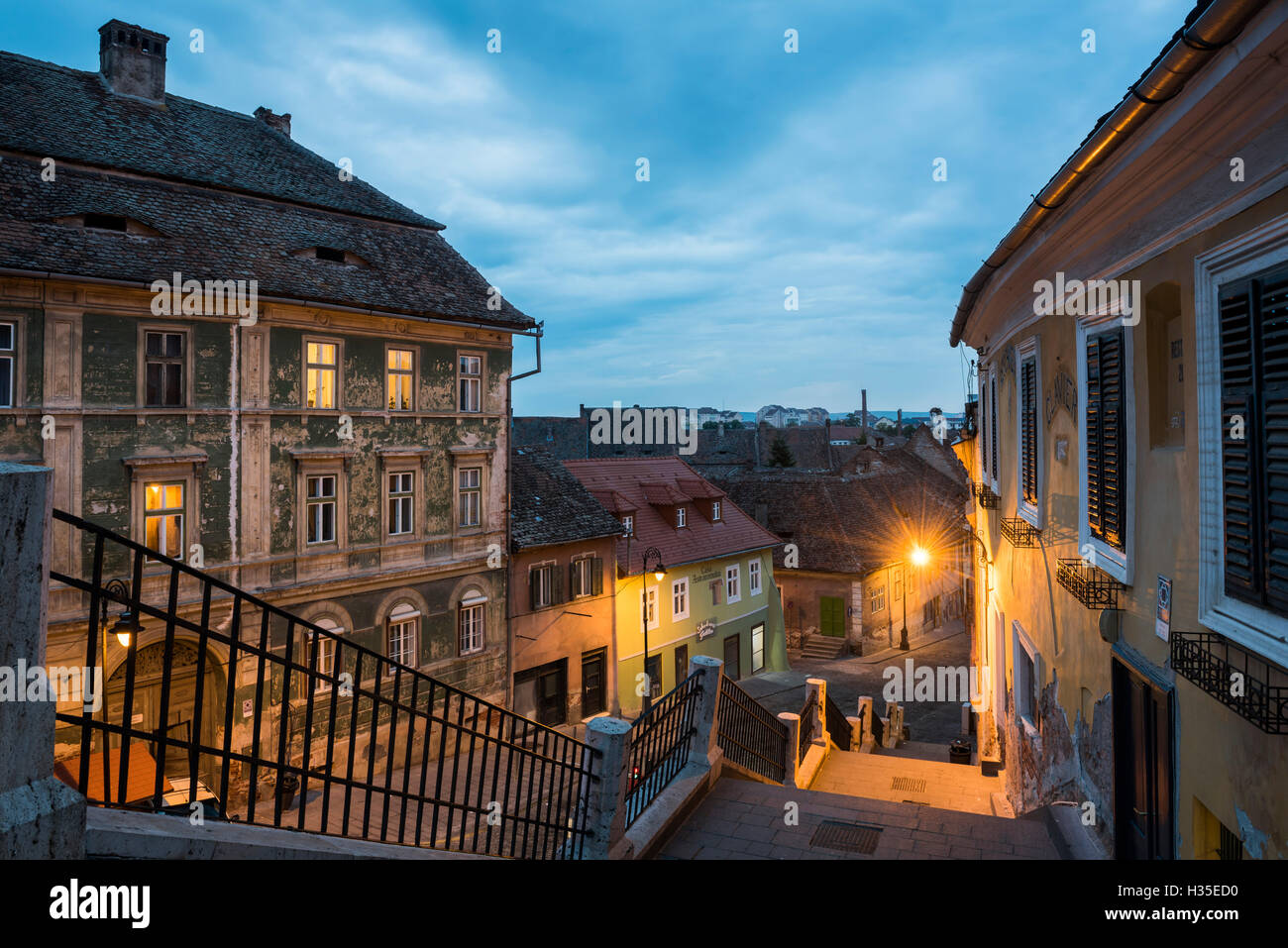 Sibiu, a 12th century Saxon city at night, Transylvania, Romania - Stock Image