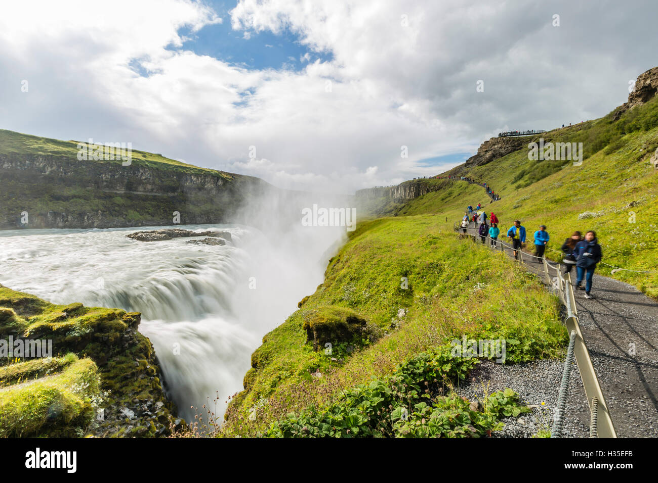 Tourists visiting Gullfoss (Golden Falls), a waterfall located in the canyon of the Hvita River in southwest Iceland - Stock Image