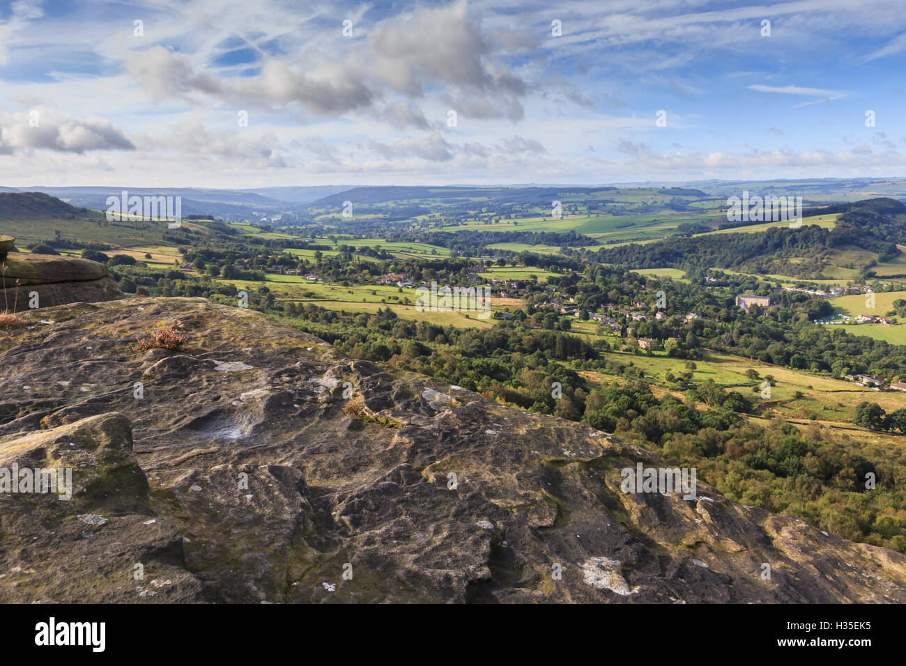 View towards Chatsworth from Curbar Edge, with Calver and Curbar villages, Peak District National Park, Derbyshire, - Stock Image