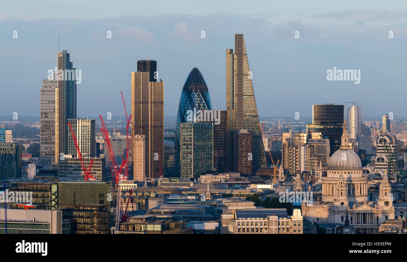 Vew of the City of London from the top of Centre Point tower, London, England, UK - Stock Image