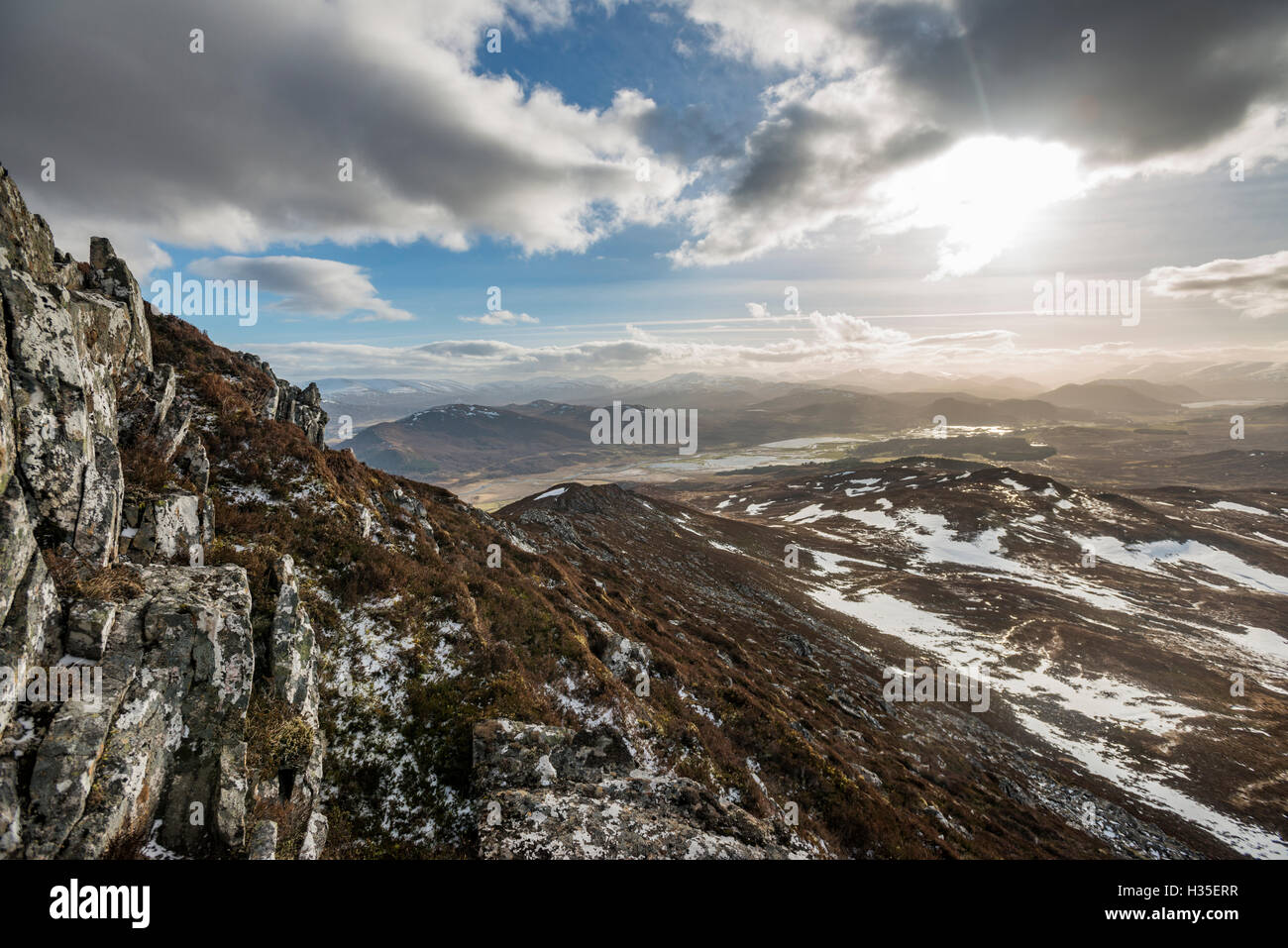 A view across the Cairngorms from the top of Creag Dubh near Newtonmore, Cairngorms National Park, Scotland, UK - Stock Image