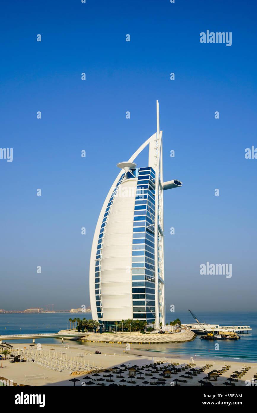 Burj Al Arab hotel, iconic Dubai landmark, Jumeirah Beach, Dubai, United Arab Emirates, Middle East - Stock Image