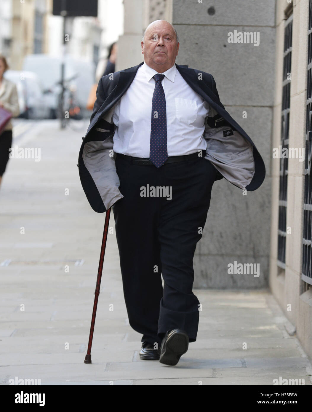 Retired driver Alan Smith arrives at the Old Bailey in London where he is accused of conspiring to pervert the course - Stock Image