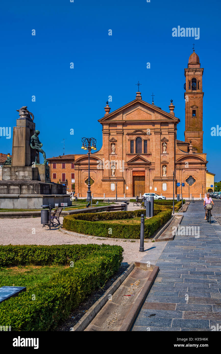 Italy Emilia Romagna Novellara Piazza Cesare Battisti - Church collegiate of St Stefano - Stock Image