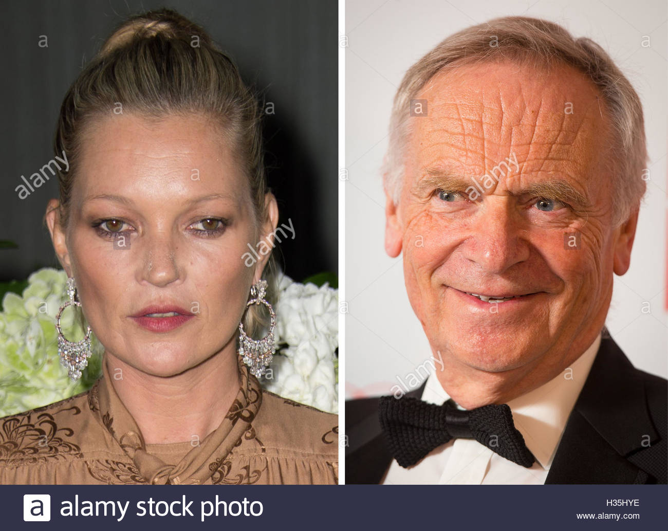 Undated file photos of Kate Moss and Jeffrey Archer who were listed as potential targets for extortion by a man - Stock Image