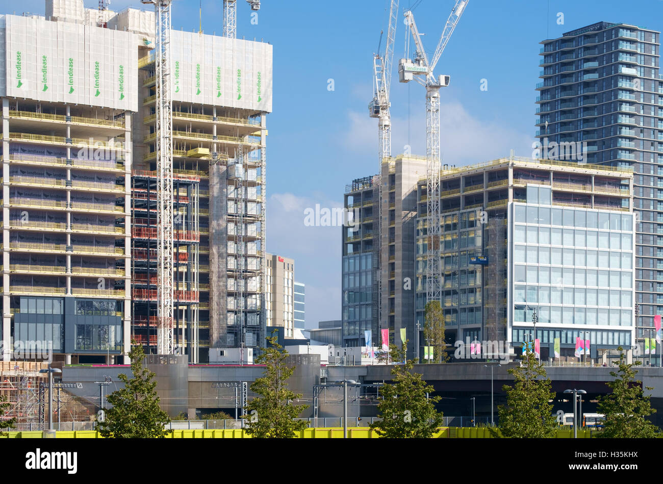 Headquarters buildings for Transport For London & the Financial Conduct Authority under construction in Stratford - Stock Image