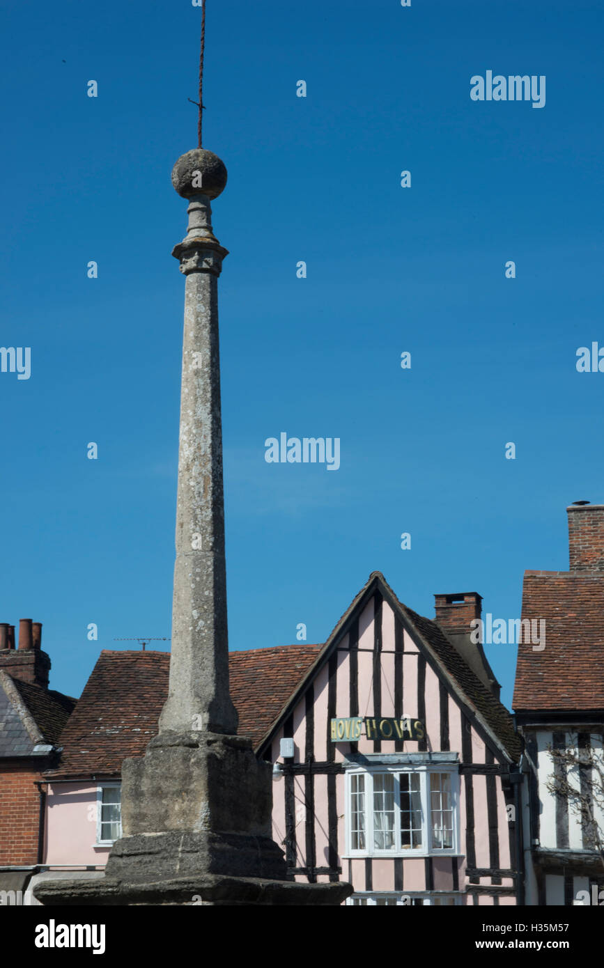 Market Square and 15th century buildings in the town of Lavenham, once one of the wealthiest in England, Suffolk, - Stock Image