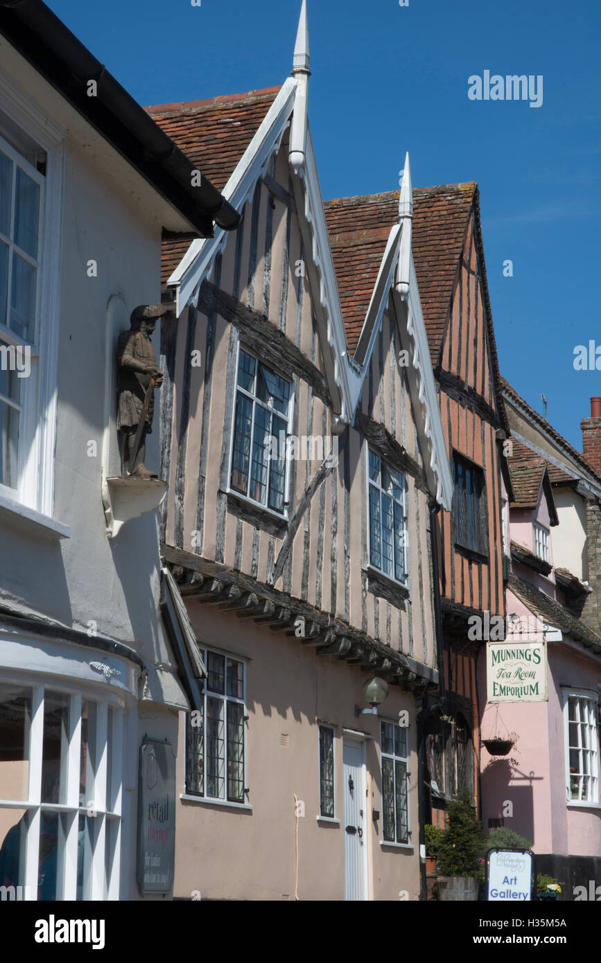 Detail of 15th century buildings in the town of Lavenham, once one of the wealthiest in England, Suffolk, UK. - Stock Image