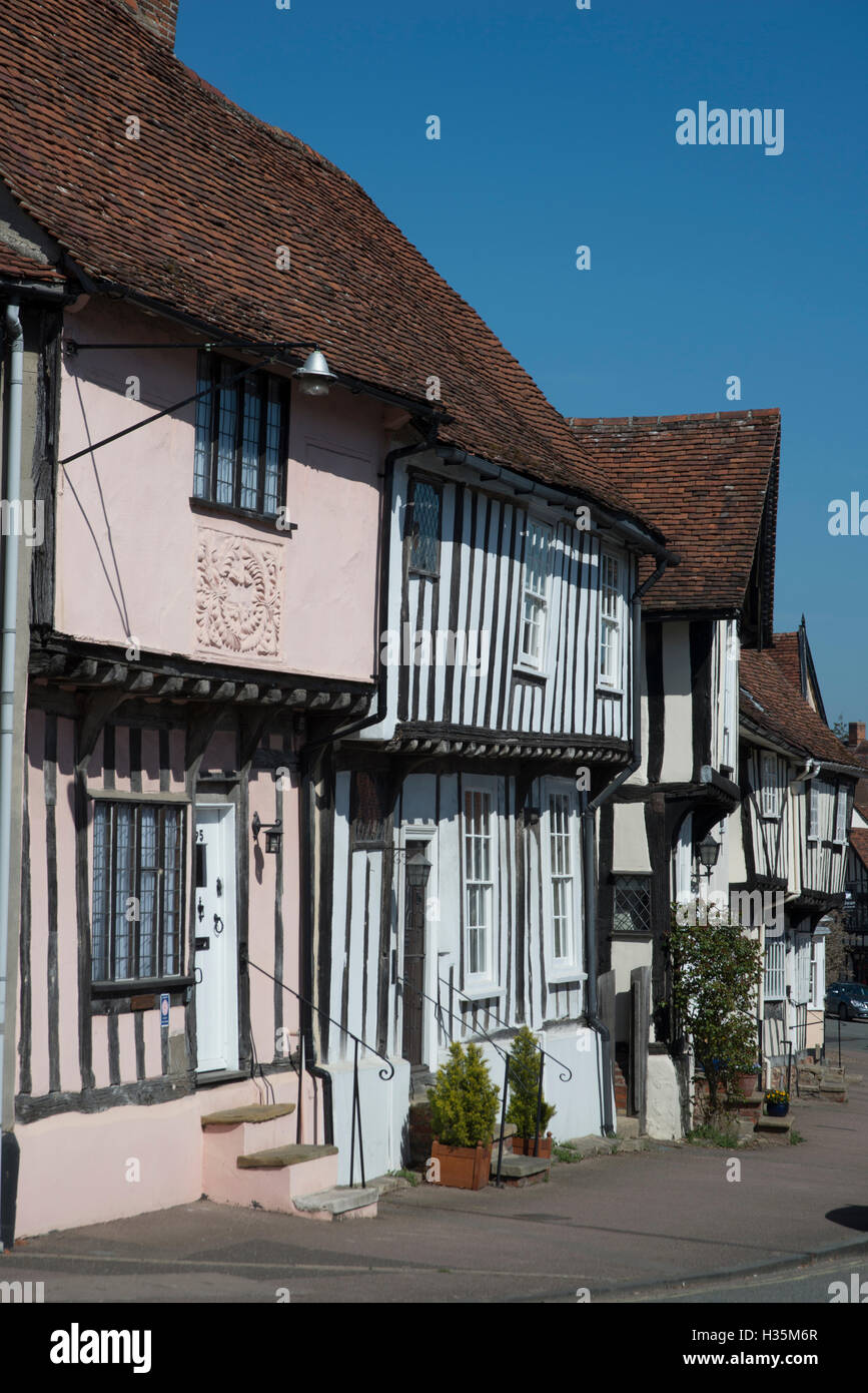 A diagonal view of fifteenth century buildings in Suffolk - Stock Image
