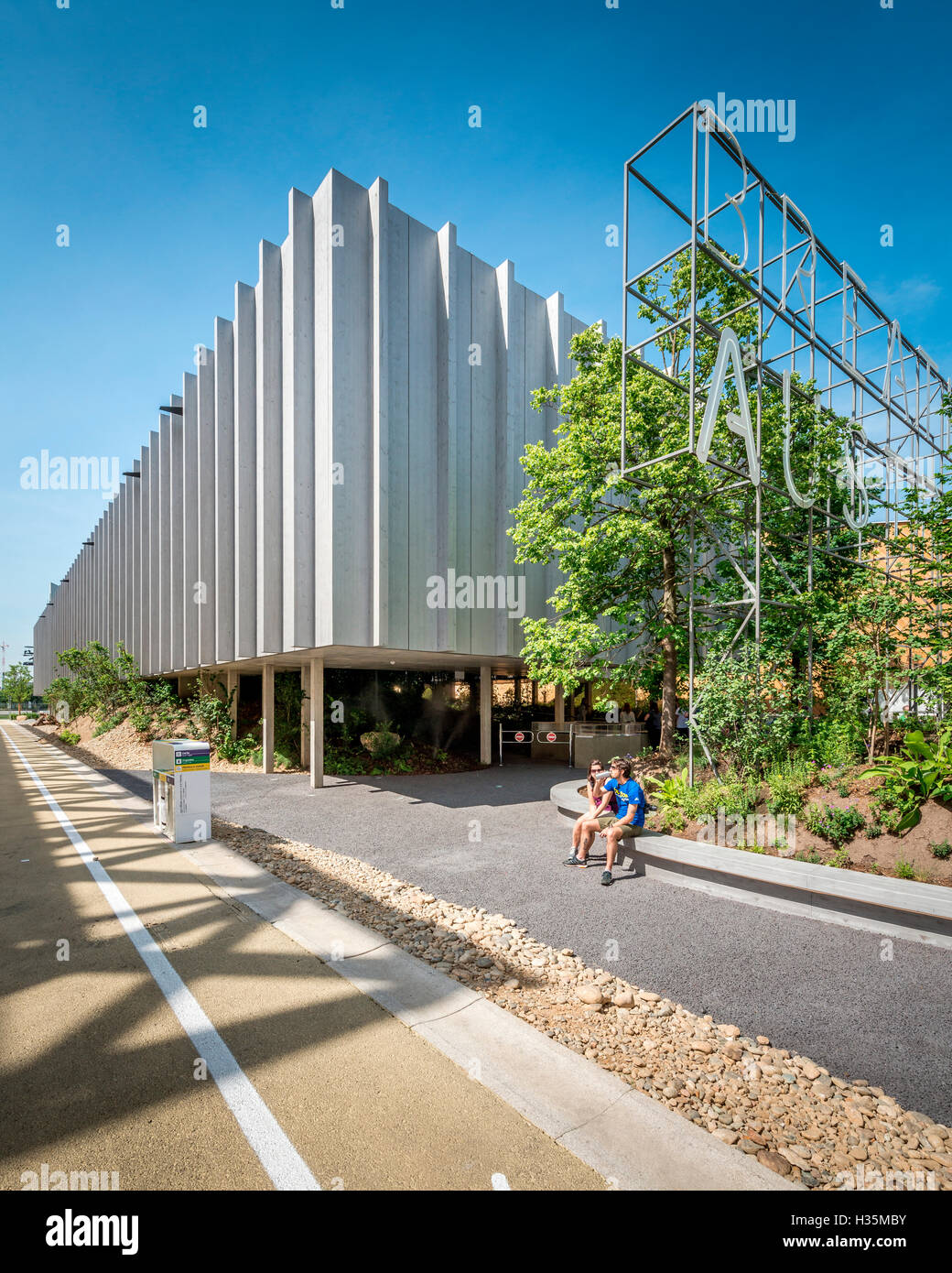 View of the Austria Pavilion at the Expo 2015 Milano Italy. - Stock Image