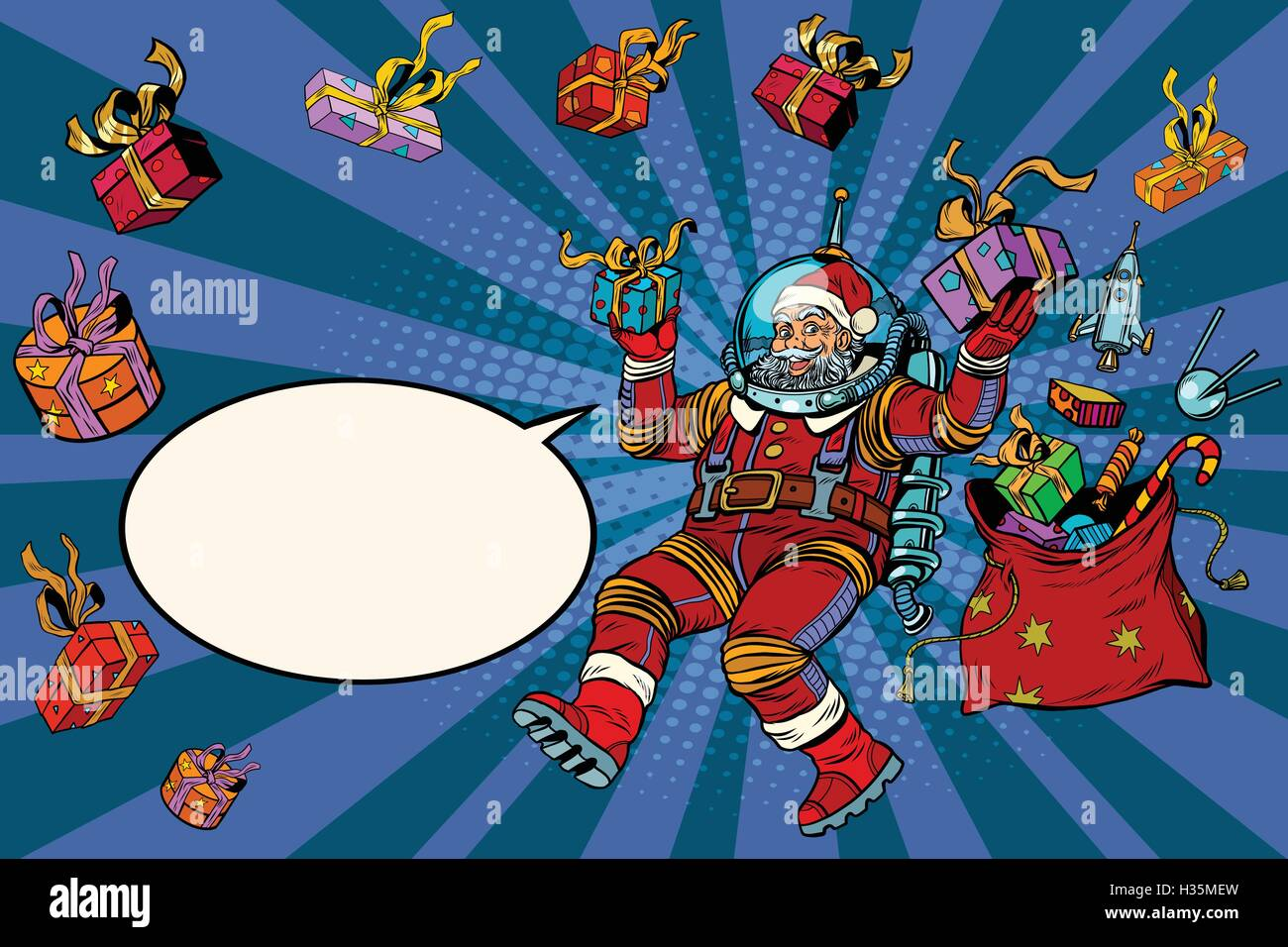 Space Santa Claus in zero gravity with Christmas gifts - Stock Image