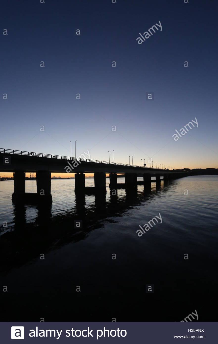Tay Road bridge at dawn Dundee Scotland  October 2016 - Stock Image
