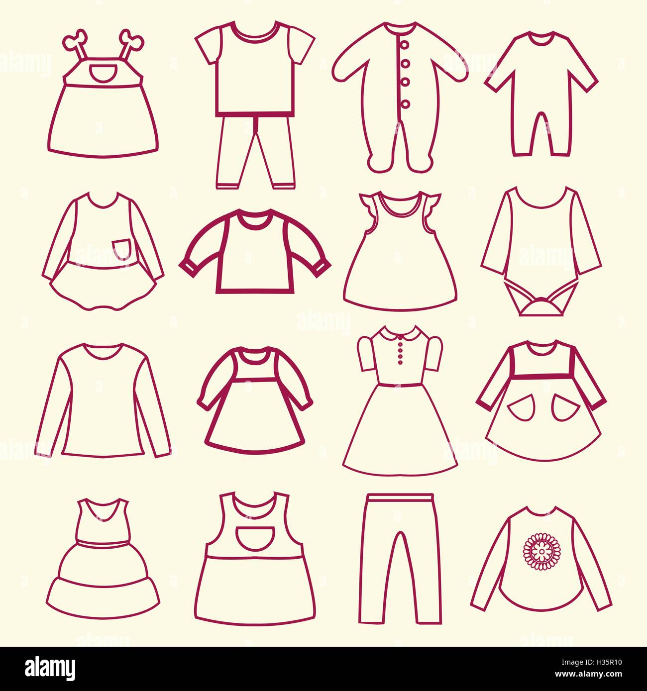 baby and children clothes collection outline icons - Stock Vector