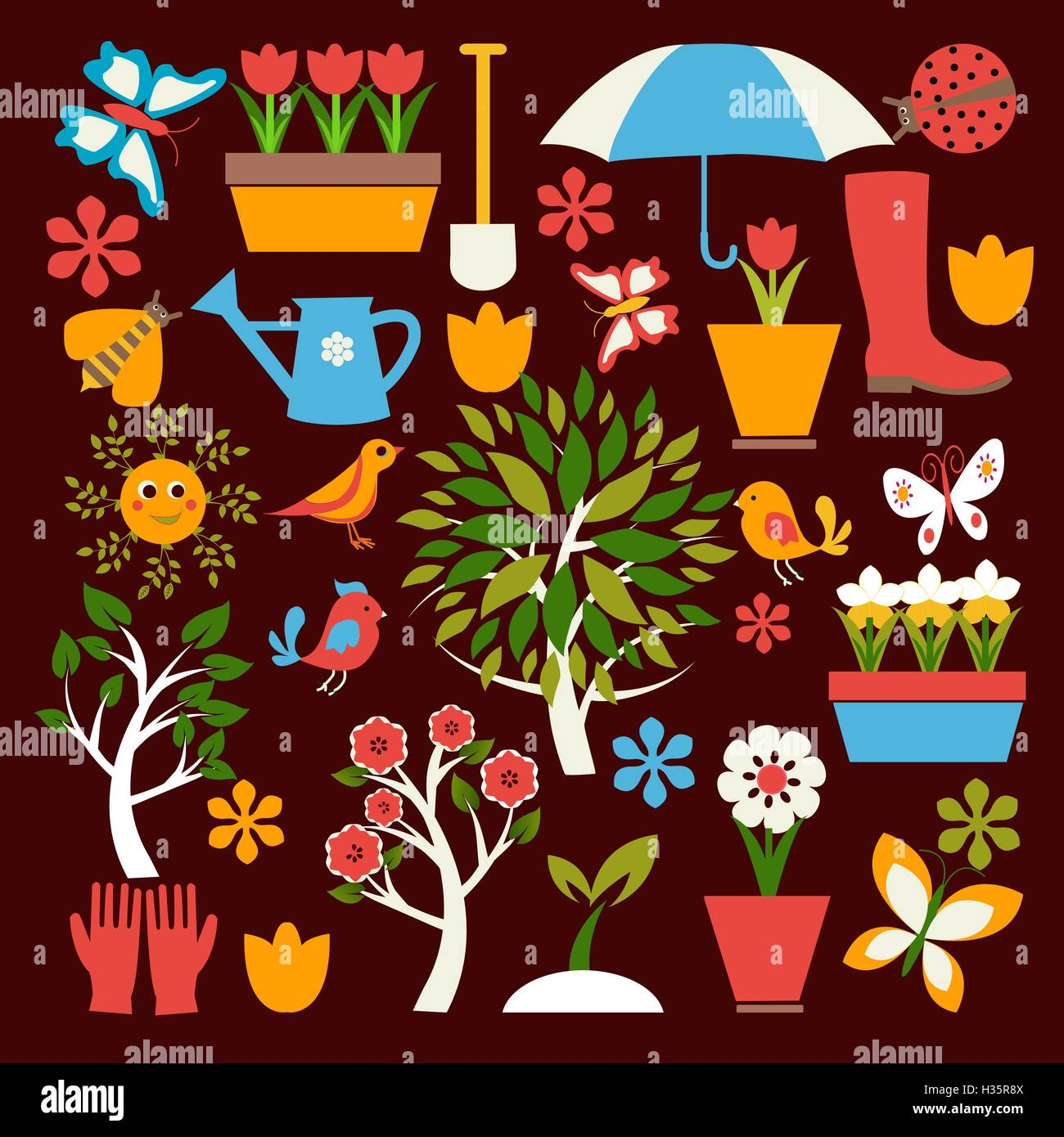 Set icons of gardening and spring related items Stock Vector Image