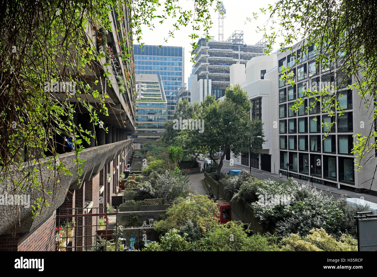 Exterior View Of Barbican Estate Flats Gardens Opposite Sir Basil