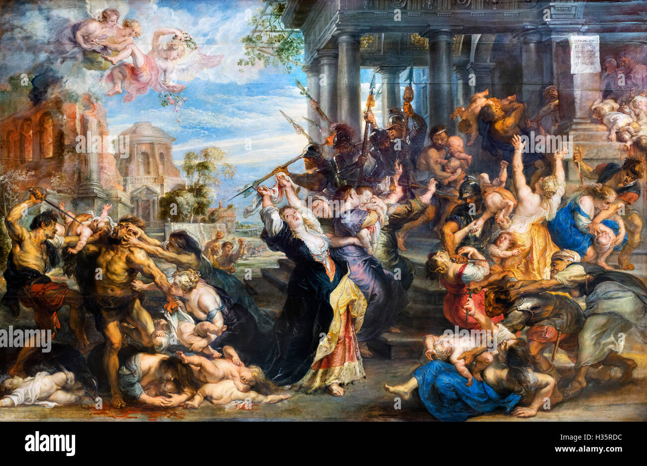The Massacre of the Innocents by Peter Paul Rubens (1577-1640). Oil on canvas, c.1638 - Stock Image