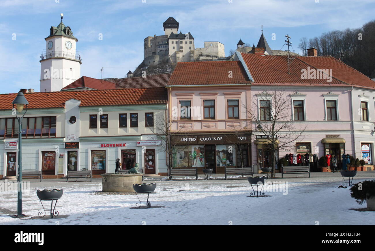 Trencin, Square of Ludovit Stur, view of the castle from bellow - Stock Image