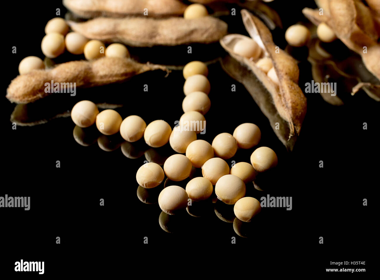 Soybeans forming Yen symbol. Soybean market. Agriculture Soybean pods. - Stock Image