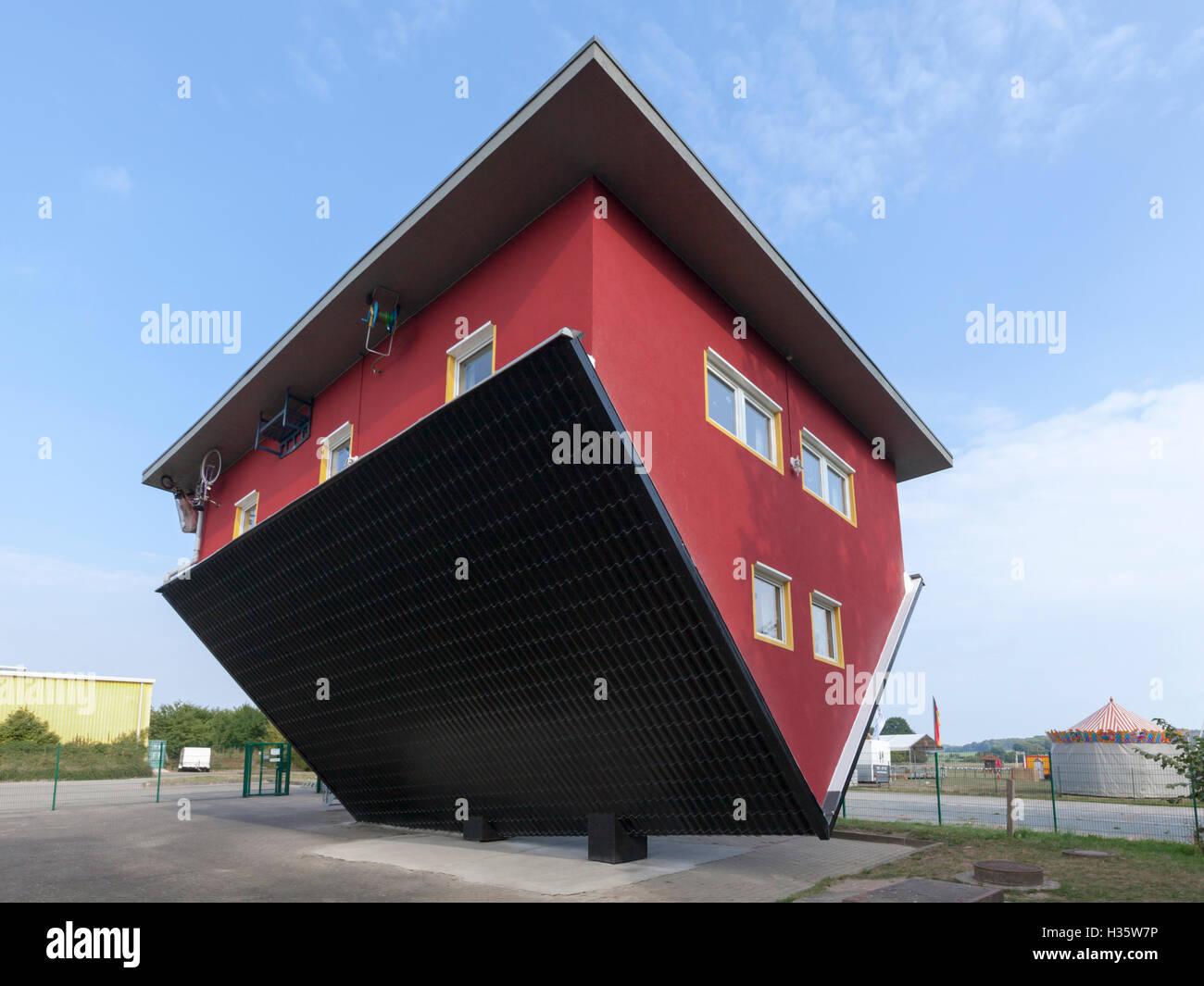 Upside down house at Putbus, Ruegen - Stock Image